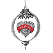 Inspired Silver Red Maid of Honor Pave Heart Holiday Decoration Christmas Tree O - $14.69