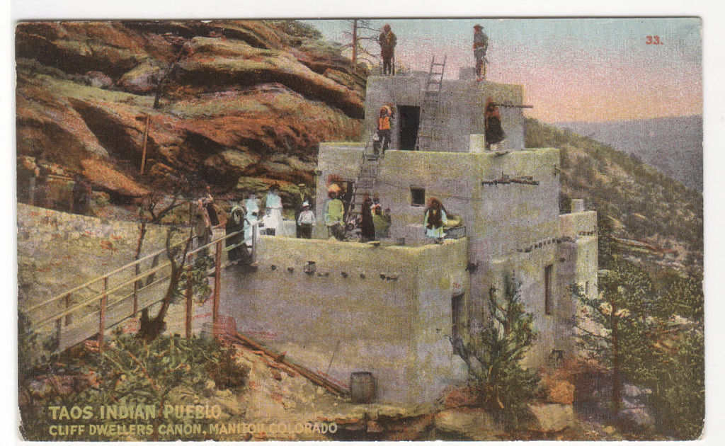 Taos Indian Pueblo Cliff Dweller Canon Manitou Colorado 1910s postcard