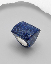 Blue Coral Sterling Silver Ring Size 6 - $47.00