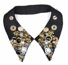 Stylish Cool Cotton Velvet Buttons Collar Necklace - £18.61 GBP