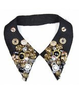 Stylish Cool Cotton Velvet Buttons Collar Necklace - £18.41 GBP