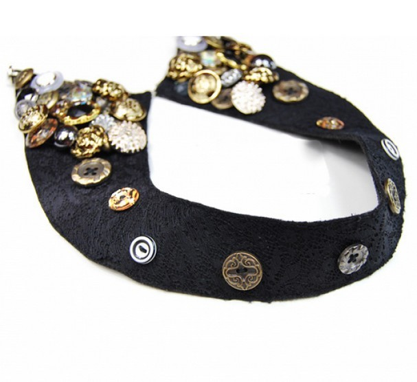 Stylish Cool Cotton Velvet Buttons Collar Necklace