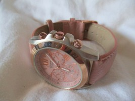Geneva Pink & Rose Gold Toned Wristwatch w/ Adjustable Buckle Band - $29.00