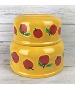 VTG Waechtersbach Set Of 2 Nesting Bowls Yellow Red Apples Colorful Spain - $33.99