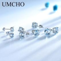 UMCHO Real 925 Sterling Silver Jewelry Created Russian Sky Blue Topaz St... - $15.99+