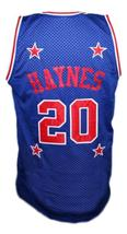 Mark Haynes #20 Harlem Magicians Basketball Jersey Sewn Blue Any Size image 2