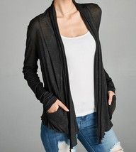Lightweight Cardigan, Lightweight Flyaway Cardigan, Charcoal Gray Womens Sweater