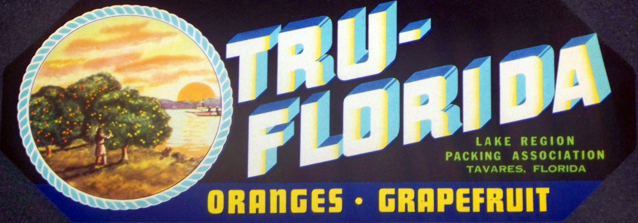 Native American! Tru-Florida Crate Label, 1930's