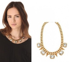 Trendy Chunky Crystal and Spike Choker Necklace - $505,17 MXN