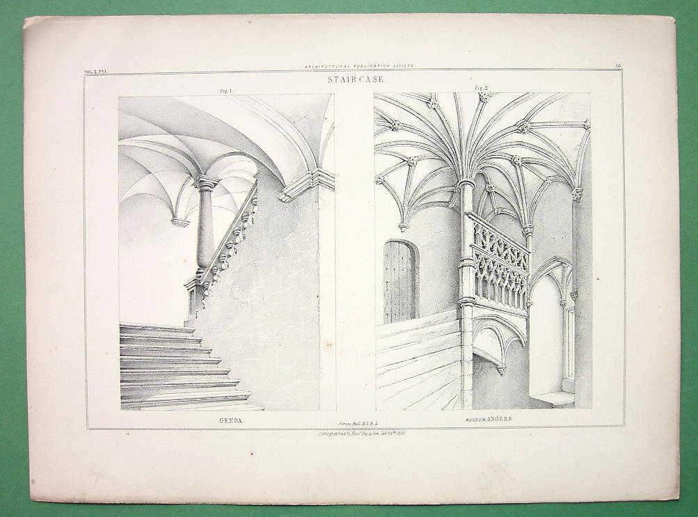 Primary image for ITALY Genoa Angers Architectural Staircases  - Antique Print