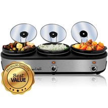 MegaChef Triple 2.5 Quart Slow Cooker and Buffet Server in - £100.35 GBP