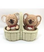 Takahashi KOALA BEARS Salt and Pepper Shakers in Ceramic Picnic Basket B... - $49.45