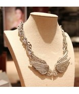 Fashion Sparkling Crystal Angel Wings Bib Necklace - £19.08 GBP