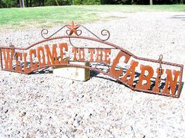 Outdoor Welcome to the CABIN Sign Metal Art Wall Entry Fence or Gate 44 ... - $124.98