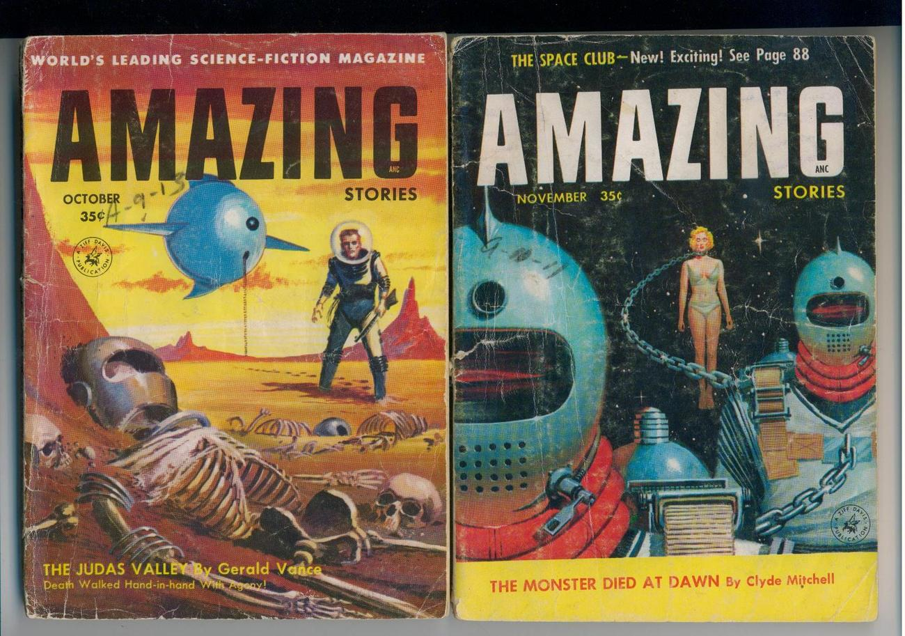 AMAZING STORIES - 3 1956 issues - Ellison, Silverberg