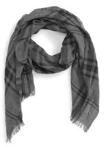 John Varvatos Star USA Men's Plaid Scarf Silver Htr Coal Silk Blend $88 ... - ₨3,206.20 INR