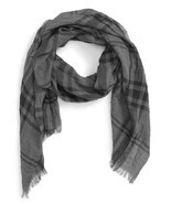 John Varvatos Star USA Men's Plaid Scarf Silver Htr Coal Silk Blend $88 ... - €40,20 EUR