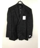 Calvin Klein Mens Dark Plaid Two Button Slim Fit Sport Coat Grey Size 40... - $29.03