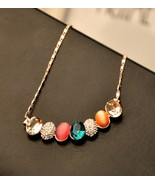 Women's Colored Opal Gem Beaded Pendent Trendy Necklace - $28.52