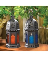 Moroccan Lanterns Blue and Amber Glass - $11.25