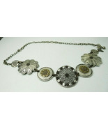 Vintage CHICO'S Huge Silver Tone Chain Round Flower Motif Belt - $49.00