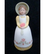 Avon Country Porcelain Bell -- 1985 -- Girl with Bonnet Holding a Bouquet - $3.99