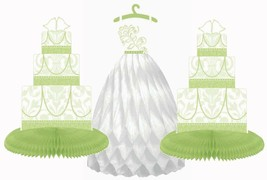 Blushing Bride Honeycomb 3 Piece Centerpiece Honeydew Green Bridal Showe... - $4.90