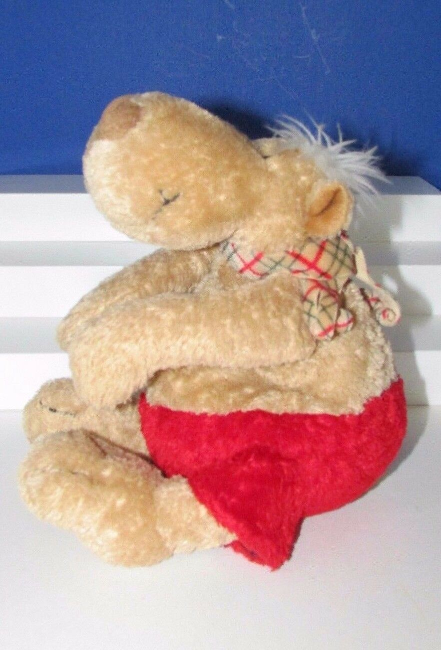 Primary image for Nici Germany plush tan brown red shorts plaid scarf heart nose bear dog plush