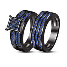 Round Blue Sapphire Wedding Bridal Ring Set 14K Black Fn.925 Silver & Free Gift - $110.30
