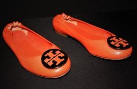Tory Burch Reva Bright Orange Leather Gold Logo Ballet Flats Size 8.5M A... - $65.00