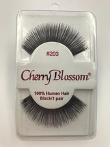 CHERRY BLOSSOM EYELASHES MODEL# 203  100% HUMAN HAIR BLACK 1 PAIR PER EA... - $1.48+