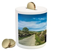 Landscape Piggy Bank by Lunarable, Rural Nature Scenery with Large Rock ... - $30.63