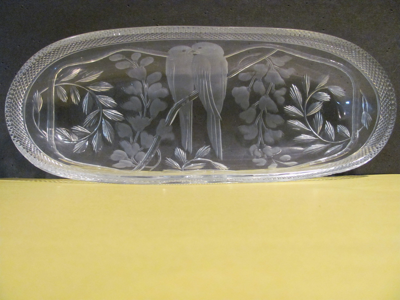 Libbeys-Lovebirds-Celery Dish-Antique