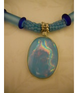 Necklace: Light Blue Beaded Beads, Cobalt Blue Accents, Dichroic Pendant... - $89.00