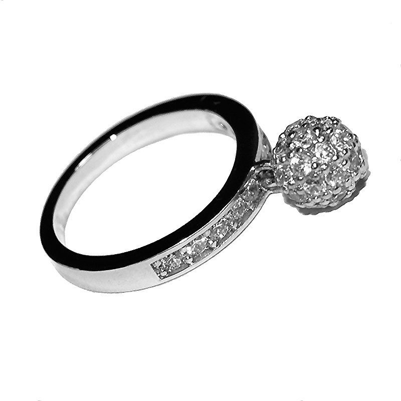 Primary image for Pave 5A CZ With Charm CZ Ball Eternity Band Rhodium Plated Ring-Stack Them Up