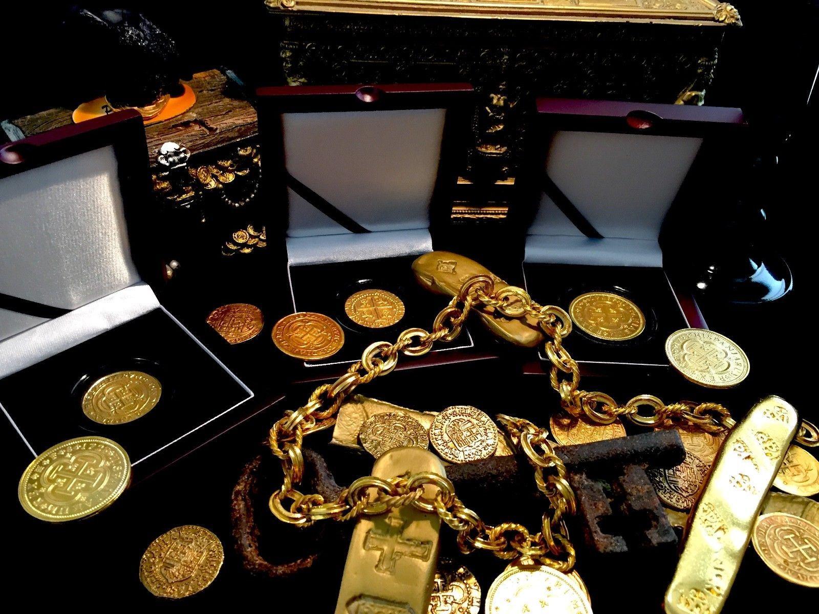 PERU LIMA 8 ESCUDOS 1710 24kt. PLATED GOLD DOUBLOON 1715 FLEET TREASURE COIN