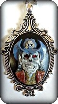Cameo necklace Walking Dead Southern zombie w red eyes and blue hat grea... - $22.00