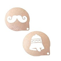 2 PCS [Mustache & Bell] Home Coffee/Cake Powder Dusting Molds - $11.53