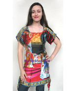 Art Print On 100% Silk Dress Tunic sz 4 US 8 UK... - $139.00