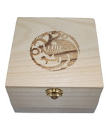 "Targaryen Fire Blood Dragon Keepsake Trinket Box Engraved Wood 6"" x 6"" x... - $7.99"