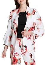 Calvin Klein Tie Sleeve Open Front Floral Jacket, White Multi NWT 4 Petite - $20.88