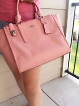 COACH F33995 CROSBY CARRYALL IN CROSSGRAIN LEATHER Pink Satchel NWT $395 - $237.59
