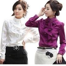 New Spring Autumn Women OL Formal Ruffle Puff Sleeve Royal Satin Blouses & Shirt