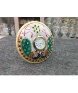 """White Marble Table Watch Jaipur Hand Carfted Floral Art Home Decor Gifts 3"""" - $47.00"""