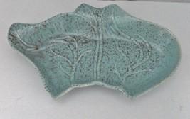 California Pottery Leaf Shaped Dish Turquoise Made in California #105 Mu... - $14.80