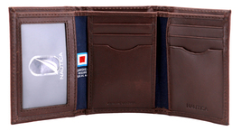 Nautica Men's Genuine Vintage Leather Credit Card Id Trifold Wallet image 14