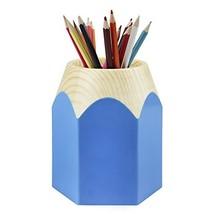 Unisex Oval Round Plastic Pen Pencil Holder Desk Organizer Blue - $12.47