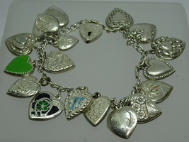 """Antique Victorian Sterling Enamel Puffy Heart 18 Charm Bracelet 7"""",HomeSweetHome - $295.00"""