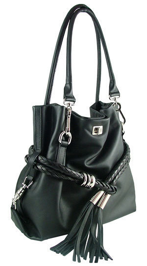 Carbotti Black Italian Designer Calf Leather Handbag