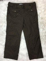 Ann Taylor Women's Career Brown Belted Khaki Chino Cropped Capris Pants Size 6 - $14.84
